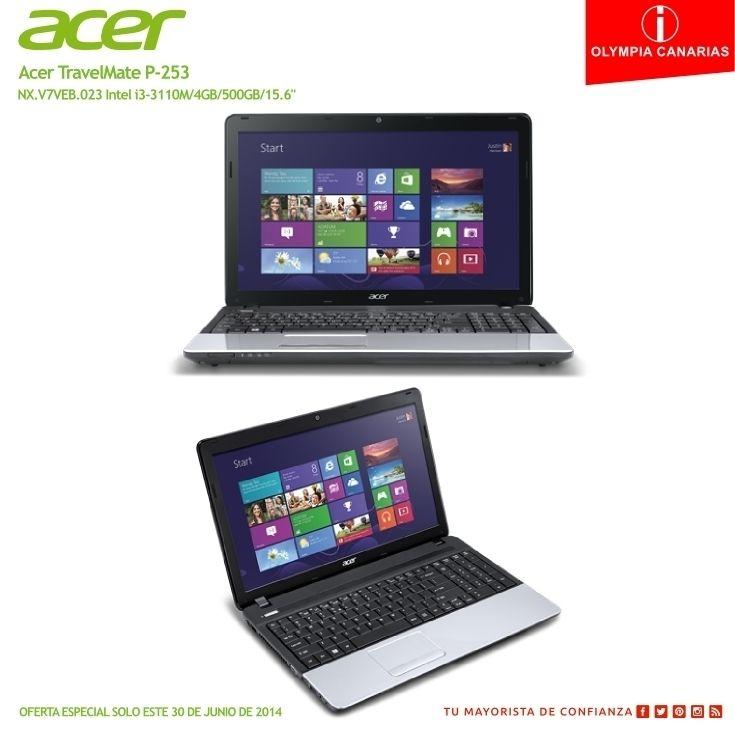 """Oferta especial solo este 30 de junio de 2014.  Acer TravelMate P-253 NX.V7VEB.023 Intel i3-3110M/4GB/500GB/15.6""""  Procesador Intel® Core"""" i3-3110M (2.4 GHz, 3 MB) Memoria RAM 4GB DDR3 SODIMM (1x4GB) Max 8GB Disco duro 500 GB (5400 rpm S-ATA) Almacenamiento óptico Super Multi Dual Layer (S-ATA) Display 15.6"""" LED HD (1366 x 768) 16:9 Controlador gráfico Intel HD Graphics 4000 Bluetooth V4.0 High Speed Cámara de portátil Sí Micrófono Sí Batería 6 celdas Ion de litio 1 RJ45 Lector de Tarjetas 6…"""