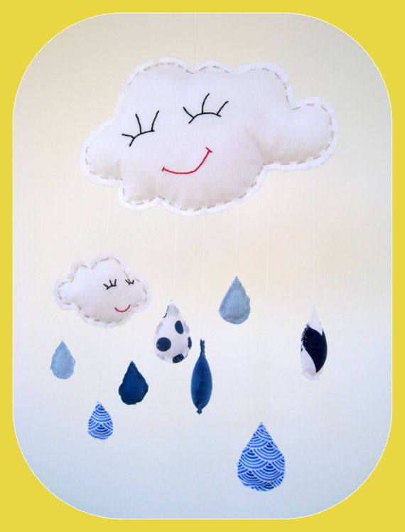 Baby mobile bedroom decor happy smiling rain cloud by boutique789
