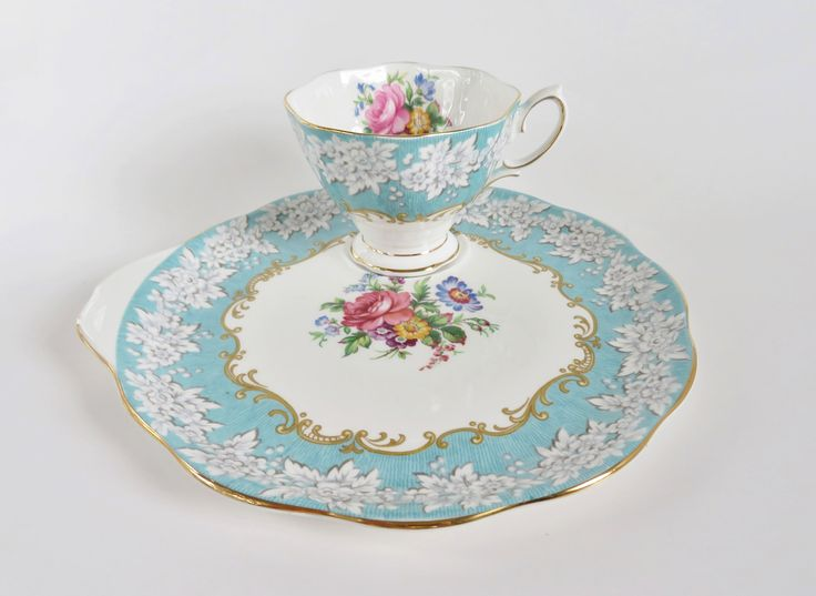 Royal Albert Enchantment Teacup and Snack Plate, Vintage Royal Albert Tennis Set, Hostess Set, Cup and Biscuit Cake Plate, Tea Lover Gift by OtterValleyVintage on Etsy