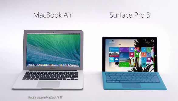 Microsoft diffuse une publicité comparative Surface Pro 3 vs MacBook Air en France
