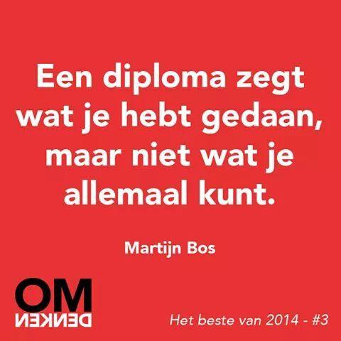 Omdenken. Een diploma. .