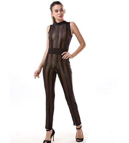 LE6598 Mesh Lace Jumpsuit