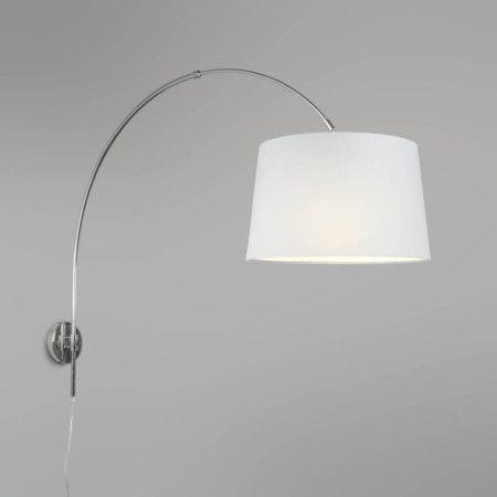 wandbogenleuchte chrom mit schirm 40cm wei bogenleuchte innenbeleuchtung und wandlampen. Black Bedroom Furniture Sets. Home Design Ideas