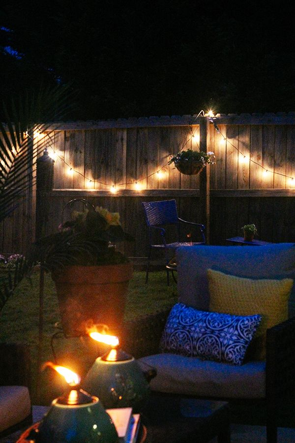 Backyard Night Lighting : Outdoor patio  night  lights on fencePrivacy Fence, Patios Decor