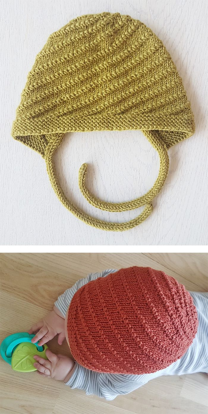 Free Knitting Pattern for Twister Baby Bonnet - An easy stitch creates a spiral texture. The bonnet is knitted back and forth in rows until you reach the end of the neck when you join the work in round. Size newborn up to 12 months. Designed by Dora Creadora. DK weight. Available in Norwegian and English.