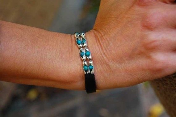 Cherokee - Womens Leather, Sterling Silver and Turquoise Bracelet $47