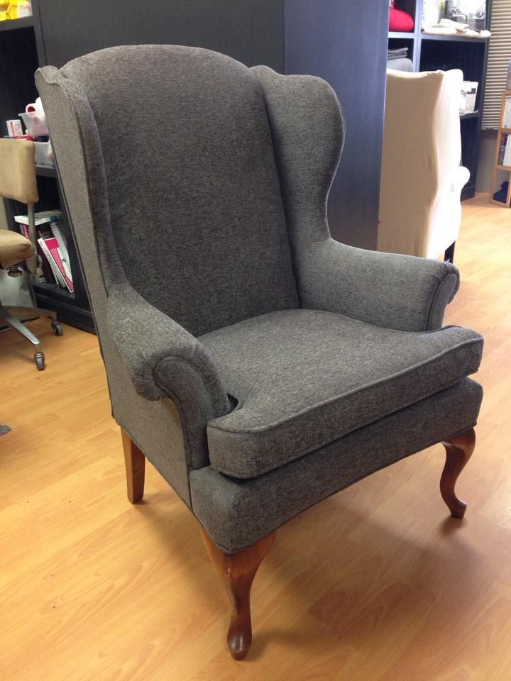 Reupholstered wing back chair. Work by Custom Covers, Exeter, ON http://customcoversontario.ca/products/upholstery-and-slipcovers/