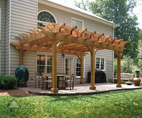 Sawn Timber Pergola ~ This heavy duty pergola is constructed from rough sawn