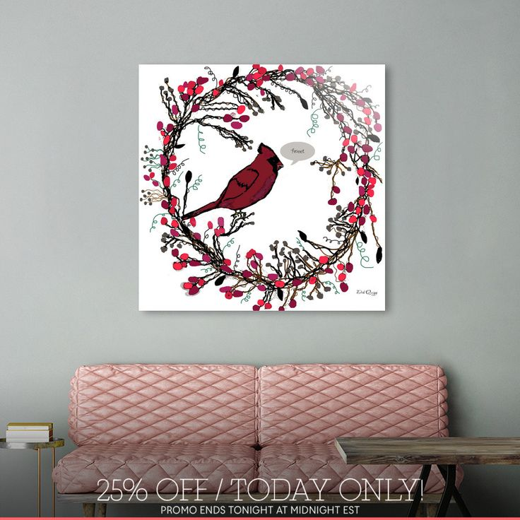 Discover «Winter Wreath and Cardinal», Limited Edition Aluminum Print by Deb Quigg - From $99 - Curioos