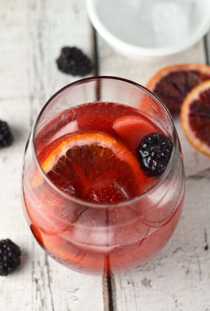 Blushing Berry Sangria made with white zinfandel and raspberry puree.