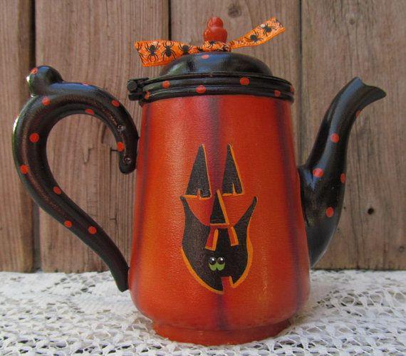 Halloween Jack O Lantern Hand Painted Mini Teapot