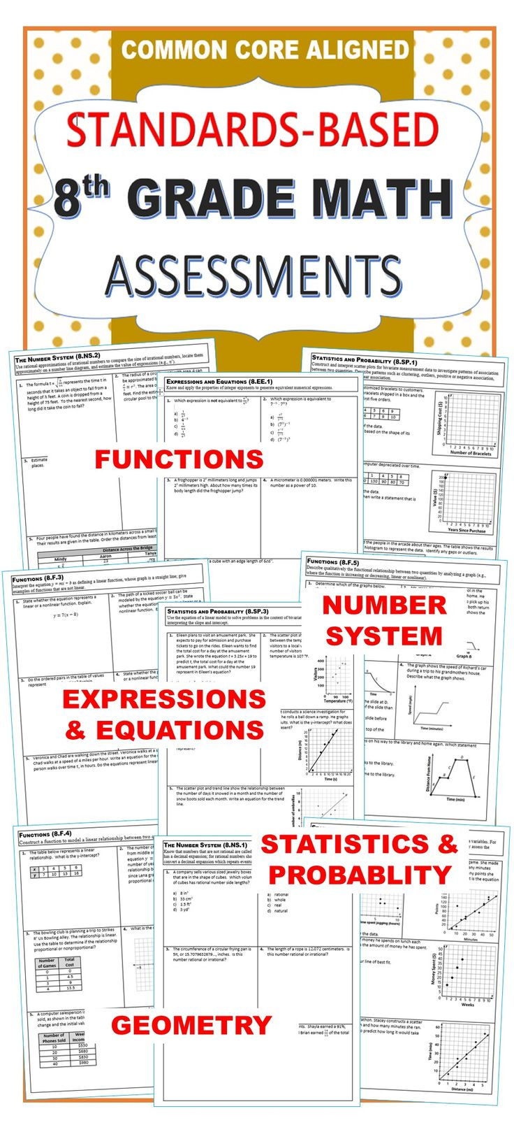 8th Grade Math Standards Based Assessments * All Standards* {Common Core} 1 page quick assessment for every common core math standard for 8th grade. It also contains a student checklist for each domain to track your students' mastery of these standards. Additionally, I have included a class tracking sheet to look at all of your students progress at a glance. ✔ The Number System (8NS) ✔ Expressions and Equations (8EE) ✔ Functions (8F) ✔ Geometry (8G) ✔ Statistics and Probability (8SP)