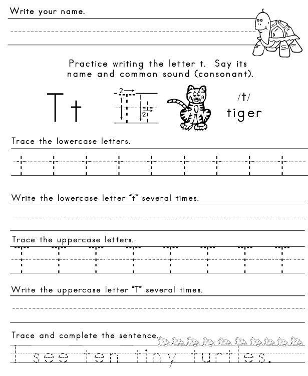 Letter T Worksheet 1 Letters Of The Alphabet Pinterest