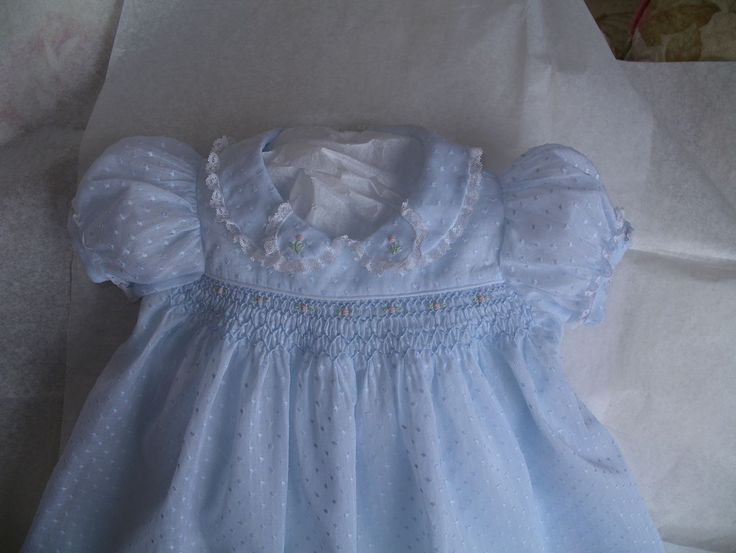 The Old Fashioned Baby Sewing Room: Emma's Smocked Baby Dress in Blue Dotted Swiss May/June 2010