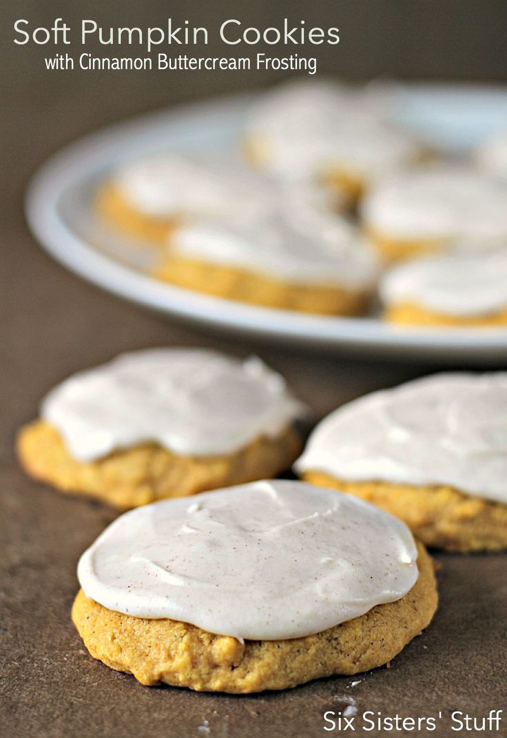 Soft Pumpkin Cookies with Cinnamon Buttercream Frosting.