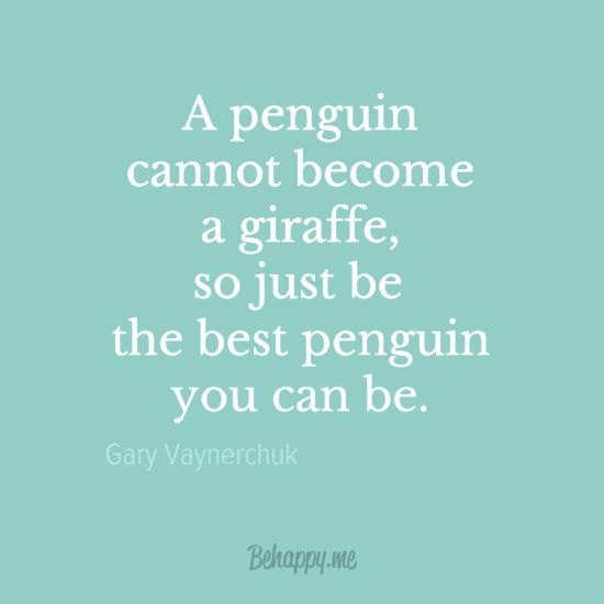 """""""Be the best penguin you can be."""" by Gary Vaynerchuk"""