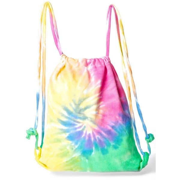 Radical Rainbow Tie Dye Backpack ($15) ❤ liked on Polyvore featuring bags, backpacks, white cotton bag, sling backpack, day pack backpack, sling bag and cotton bags