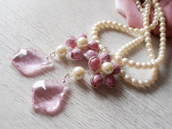 RESERVED FOR M. 2 pairs Girls room pink curtain tiebacks faux pearls, glass crystals flowers