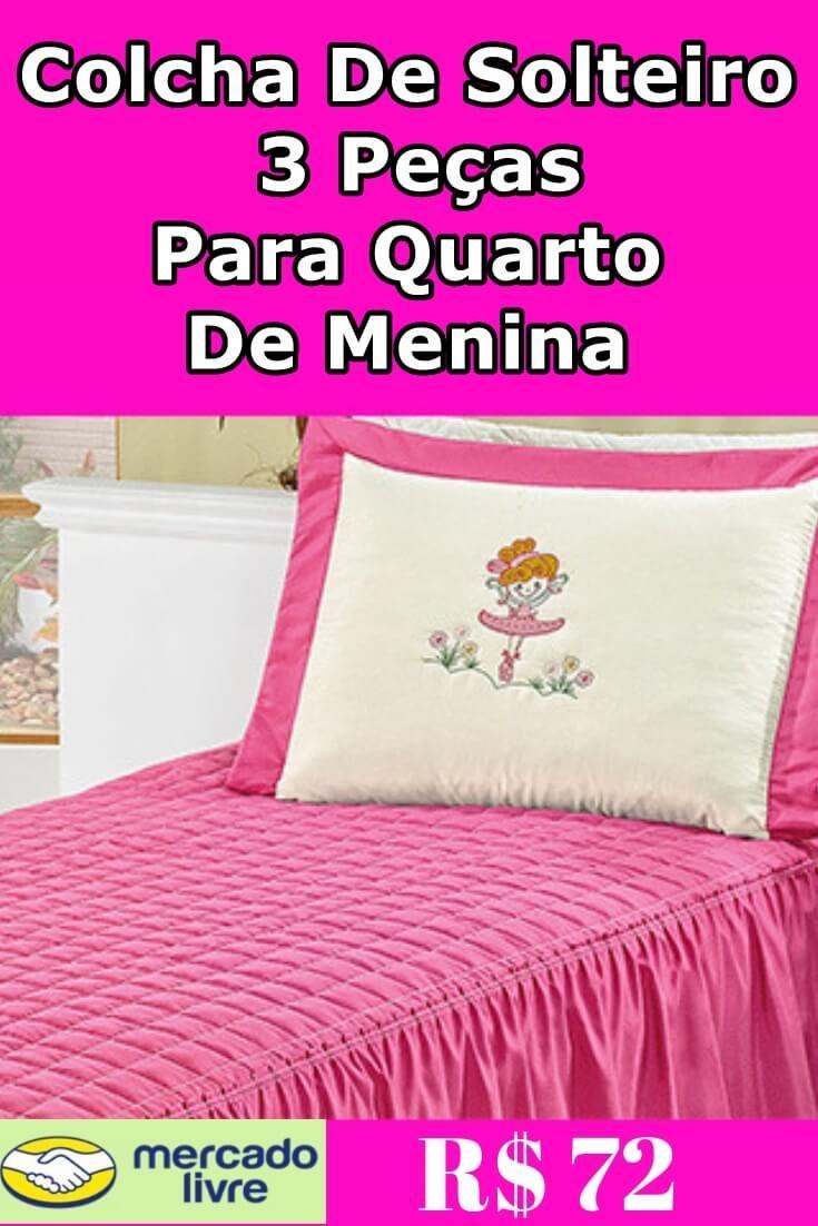 0c81af983 Colcha De Solteiro 3 Peças Rosa Ou Lilás Para Quarto De Menina Colcha  Infantil Solteiro Menina