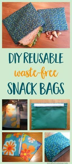 Learn how to make reusable DIY snack & sandwich bags for waste-free lunches and on-the-go snacking - with this easy sewing tutorial. What a great idea. You know we have, all we sewing types nice pieces of material we just do not know what to do with. So reusable snake bags perfect.#affiliatelink | zero waste | snack bags | reusable lunch gear | simple sewing project via @mindfulmomma