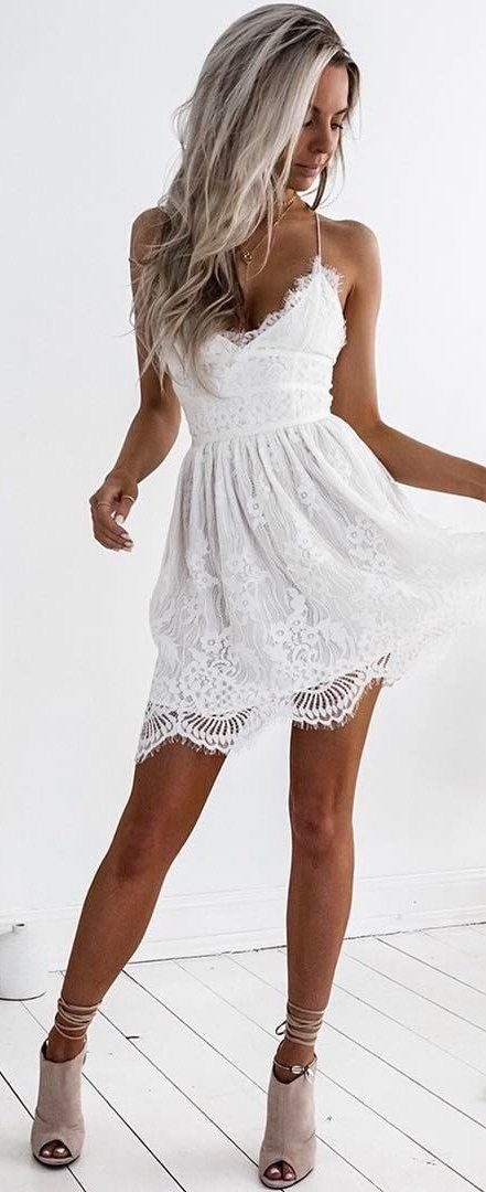 #summer #outfits  White Crochet Lace Little Dress + Grey Suede Pumps 🌷