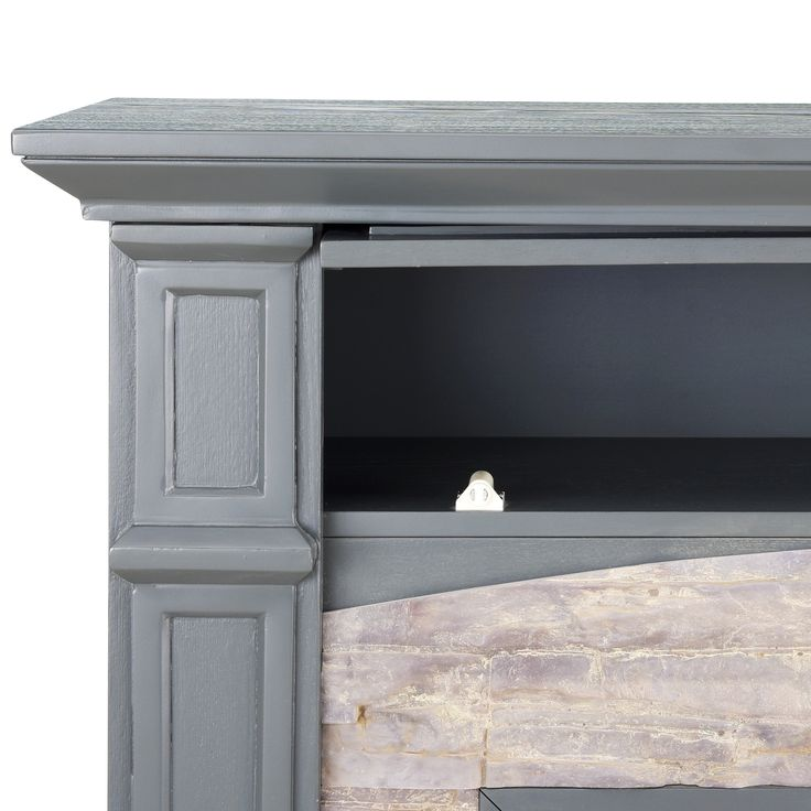 Harper Blvd Stratford Grey with Weathered Stone Infrared Electric Media Fireplace | Overstock.com Shopping - The Best Deals on Indoor Fireplaces