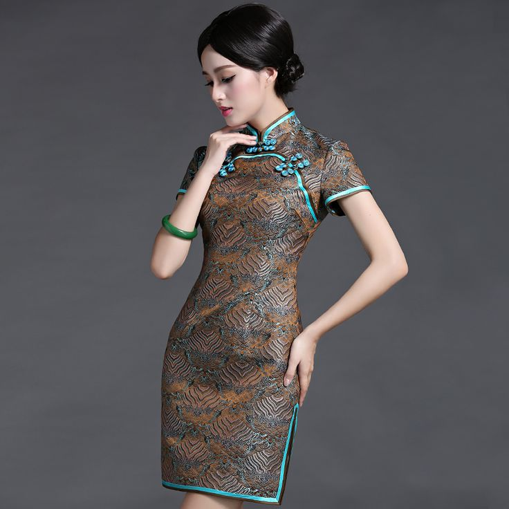 Classic damask high quality chinese style banquet women's cheongsam one-piece dress chinese style vintage short design