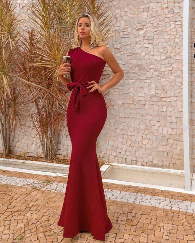 {Fernanda} Vestido Festa Longo Um Ombro Só Semi Sereia com Laço na Cintura Madrinha Formatura (cor Marsala) - Ana… in 2019 | Fashion dresses, Dresses, Fashion