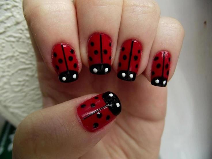 Ladybug nail art for short nails : Lady bug nails nail art and