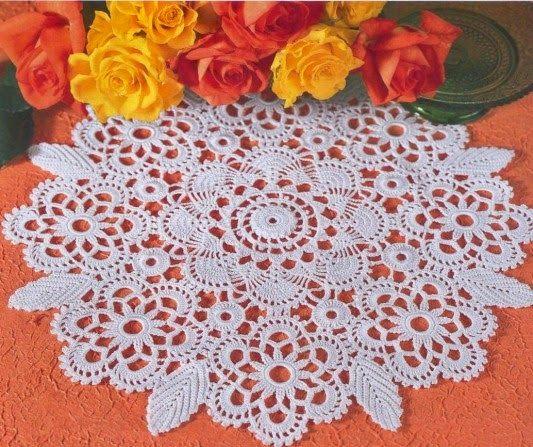 Crochet y dos agujas: Patrón de Carpeta floral muy delicada tejida con crochet
