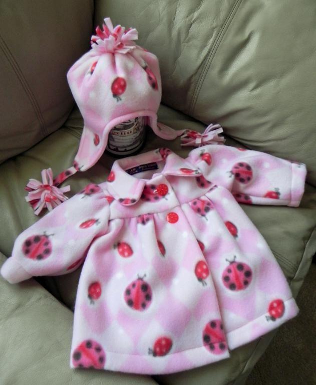 Fleece baby jacket & hat