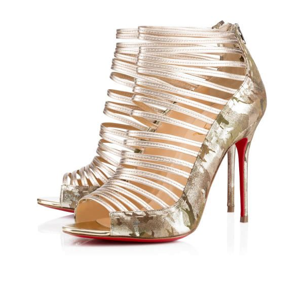 Christian Louboutin Gortika 100mm Gold Leather Women Special-Occasion