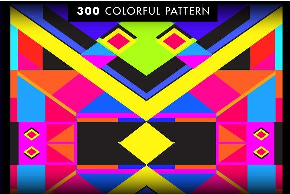 300 Colorful Retro Geometric Pattern - Patterns