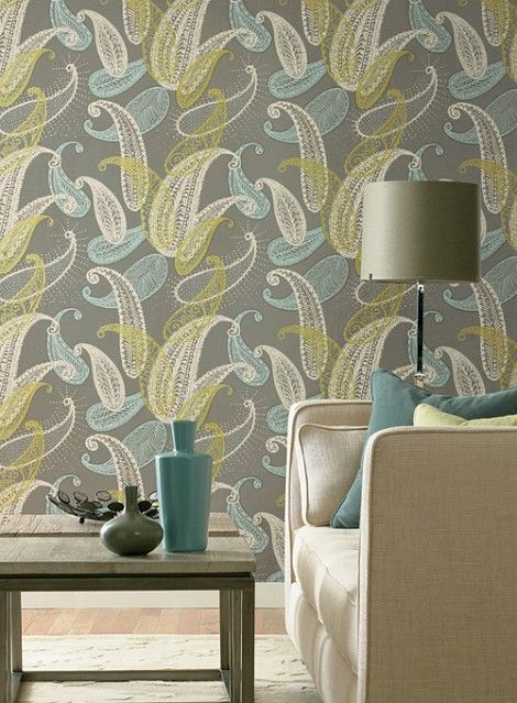 Grey, turquoise and gold paisley wallpaper. I don't normally like wallpaper but this is really pretty!