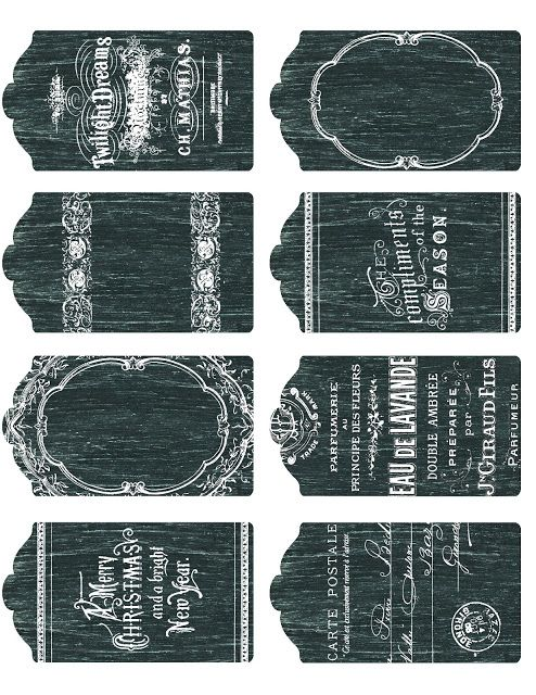 FREE Chalkboard Printables ~    Included are small tags (shown above), blank oval labels, rectangular graphic or tag, French advertising labels, gift card or money envelopes, oval labels in PNG format, blank & French lavender tags.    Downloads @   http://lilac-n-lavender.blogspot.ca/2012/11/printable-chalkboard-tags-labels-and.html