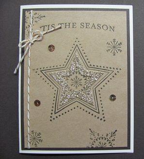 Stampin' Up! ... handmade Christmas card ... kraft base ...  black stampig ... gold glimmer paper die cut star ... bit of Western look ...