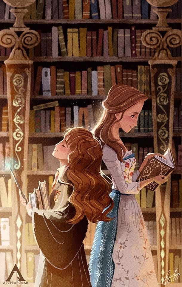 Hermione and Belle - Something always will be the same. Source of this amazing art: http://apolar.deviantart.com/ On facebook: Apolar (@Apolar.Arch)