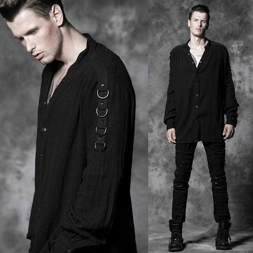 Black Linen Long Sleeve Button Down Goth Fashion Casual Shirts for Men SKU-11407288