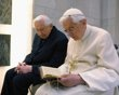 Pope Benedict XVI prays with his brother Mons. Georg Ratzinger in his private chapel at the Vatican April 14, 2012.     http://news.yahoo.com/photos/world-events-slideshow/pope-benedict-xvi-prays-brother-mons-georg-ratzinger-photo-111938572.html