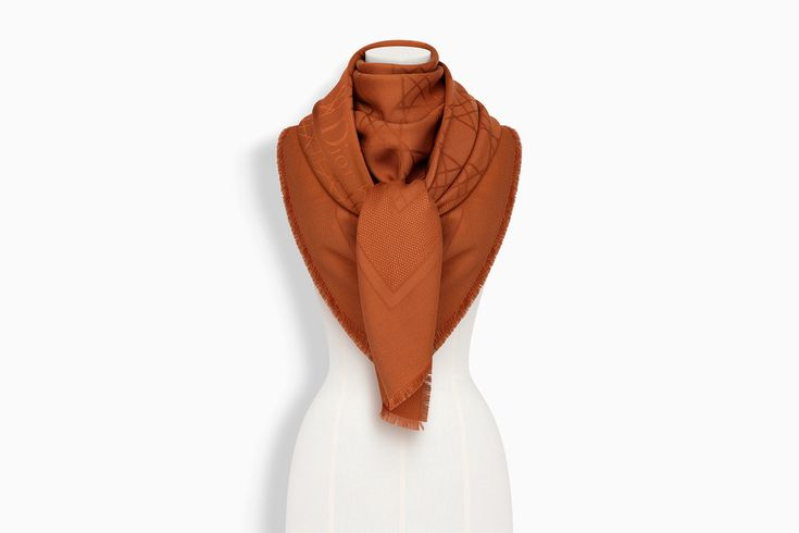 Camel Silk and Wool Dior Cannage Stole 140 x 140 cm ($500)