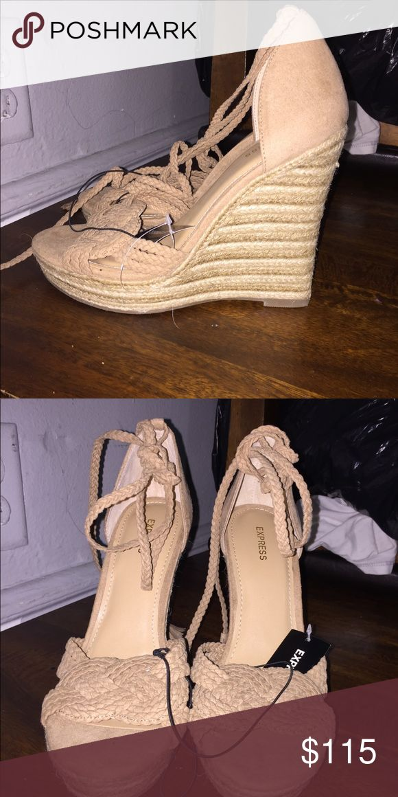 Beige wedges NEW size 8 wedges! Never worn 🙃 Express Shoes Wedges