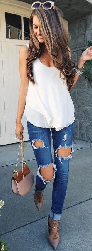 #summer #preppy #outfits   White Double Layer Tank + Destroyed Jeans