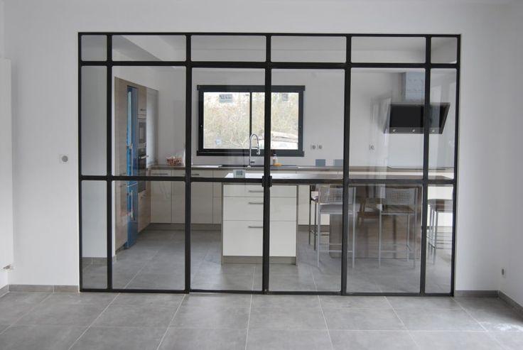 Verrière acier entièrement en verre securisé – Ferronnerie Art Sourrouille