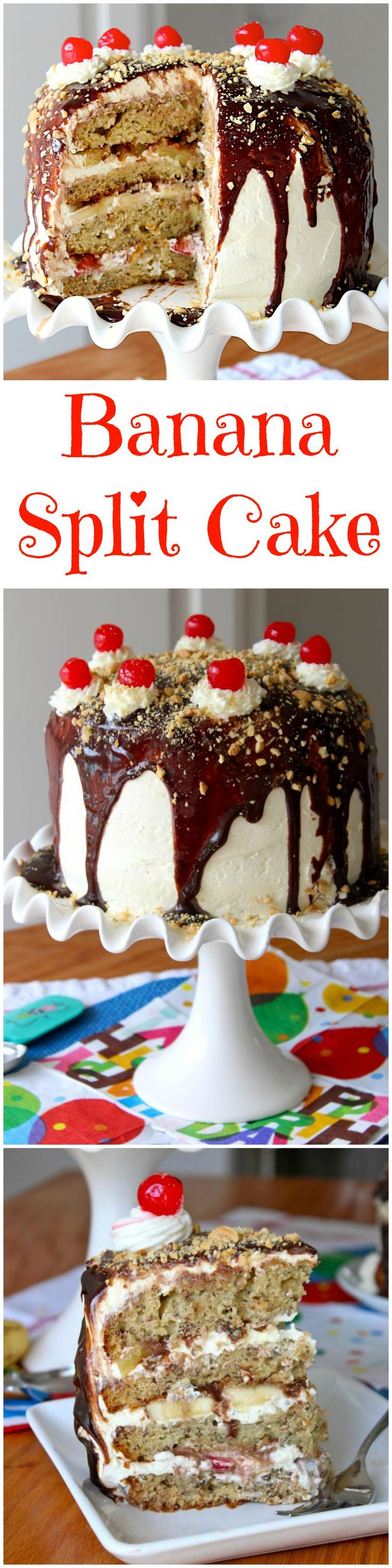Banana Split Cake - moist banana nut cake is layered with all the incredible toppings of a traditional banana split.