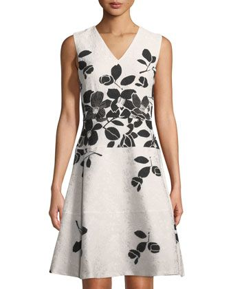 6b78072cf37 Floral-Jacquard+Fit+ +Flare+Dress+by+Karl+Lagerfeld+Paris+at+Neiman+Marcus+ Last+Call.