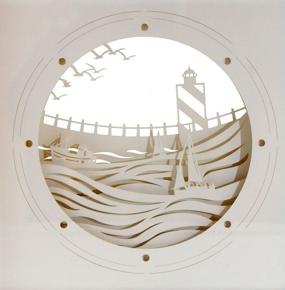 Paper Art Work : Nautical Design by NaturesCrossroad on Etsy