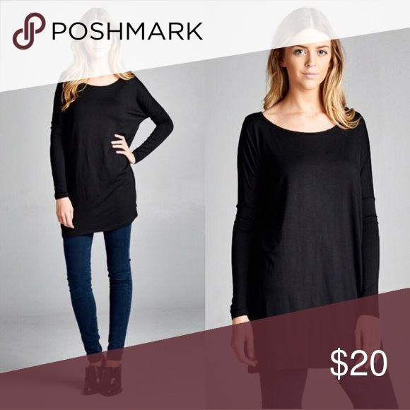 💕COMING SOON💕Black Long Sleeve Tunic I will have 4 of these tops available - 2 S/M & 2 L/XL. This is a great shirt for layering or wearing over leggings! These are loose fitting tops. Tops Tunics
