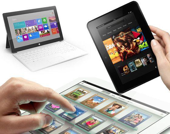 Surface vs iPad vs Kindle Fire HD.
