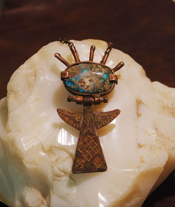 Talisman Necklace Nishapur Turquoise Necklace. by shamanstones