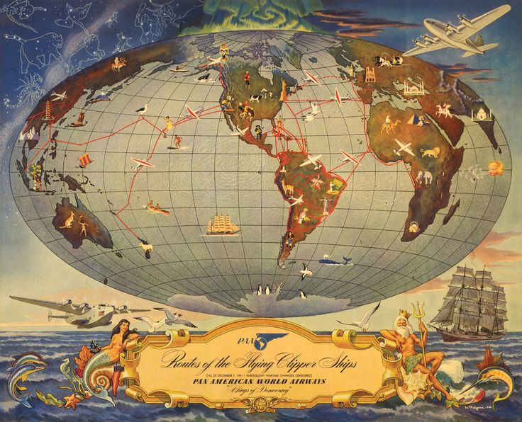 Poster Pan American Airways Routes Of The Flying Clipper Ships Http